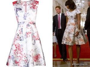 michelle-obama-mother-s-day-tea-prince-harry-prabal-gurung-floral-dress-resort-2013-opener